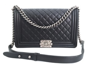 Chanel Boy Quilted Ruthenium Cross Body Bag