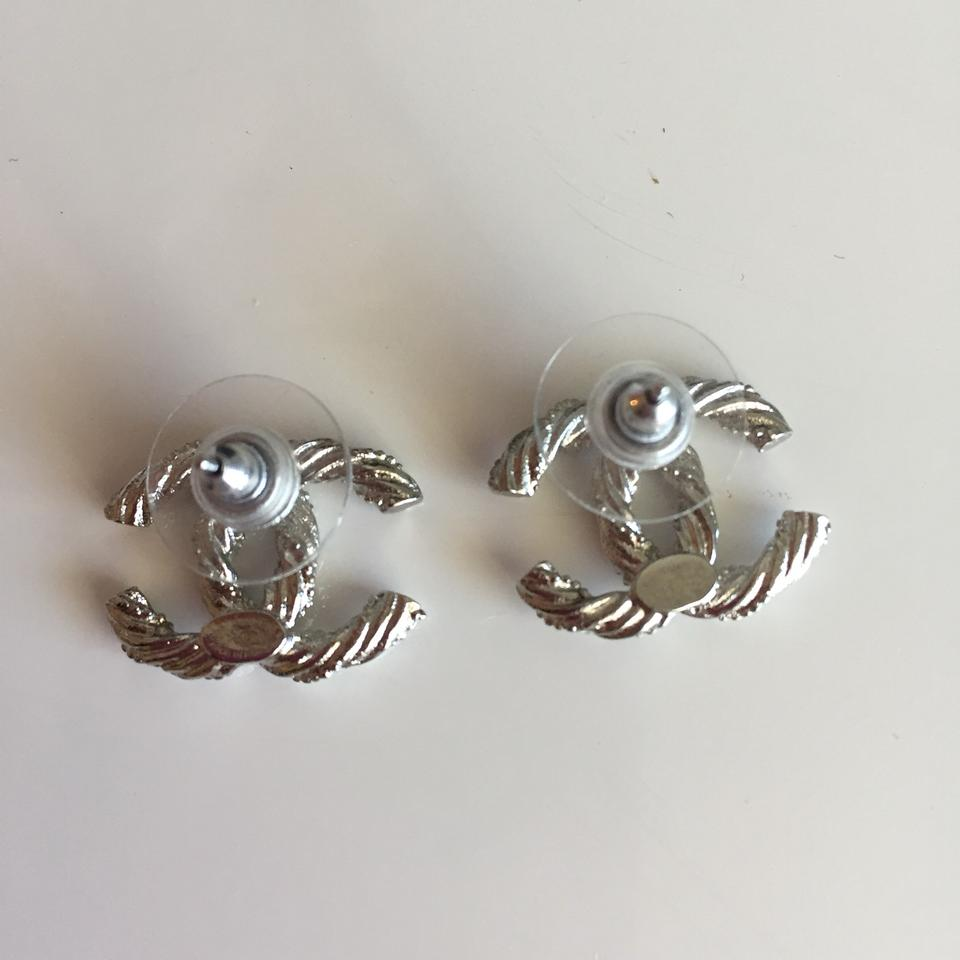 Chanel Silver New Cc Logo Twisted Crystal Stud Earrings