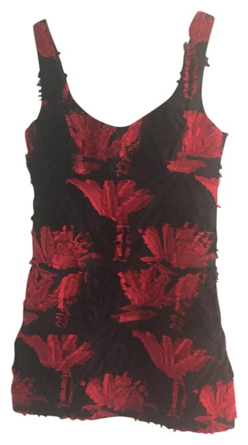 Item - Black and Red Couture Floral Fil Coupe Mini Short Cocktail Dress Size 6 (S)