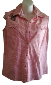 Adiktd Western Style Short Sleeve Snap Front Country Button Down Shirt Pink with white polka dots