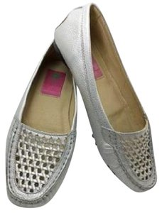 Lilly Pulitzer Leather Silver Flats silver Flats