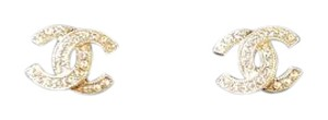 Chanel NEW CC logo earrings with crystals light gold
