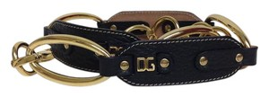 Dolce&Gabbana Black leather and gold ring belt. This belt is adjustable with the ri