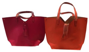 Neiman Marcus Tote in Orange and Purple with Gold interior