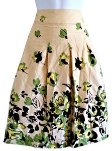 George Floral Roses Rose Green Full Skirt Beige