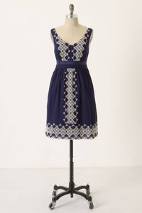 Anthropologie short dress Navy Cotton Embroidered on Tradesy