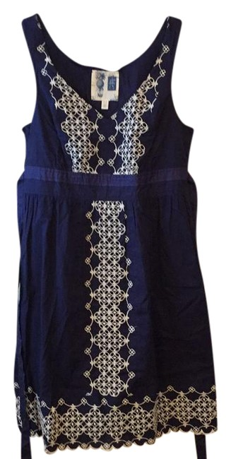 Anthropologie short dress Navy Cotton Embroidered on Tradesy Image 1