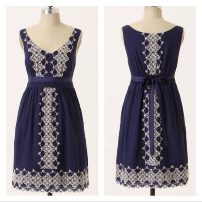 Anthropologie short dress Navy Cotton Embroidered on Tradesy Image 11