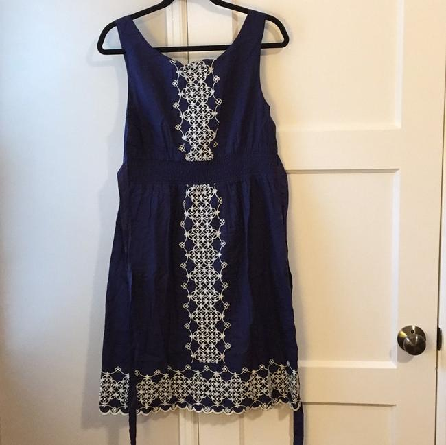 Anthropologie short dress Navy Cotton Embroidered on Tradesy Image 2