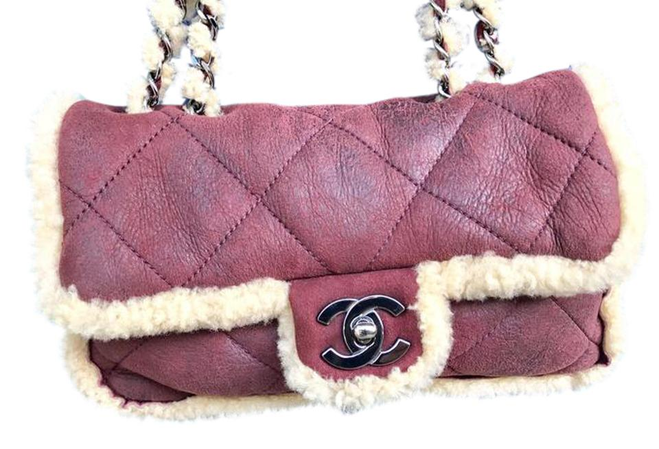 Chanel Shearling Quilted Burgundy Lambskin Shoulder Bag - Tradesy 92efe1cd61b86