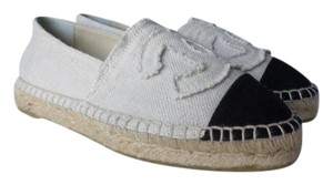 Chanel Canvas Canvas Espadrilles Canvas Linen Size 37 beige/Black Flats