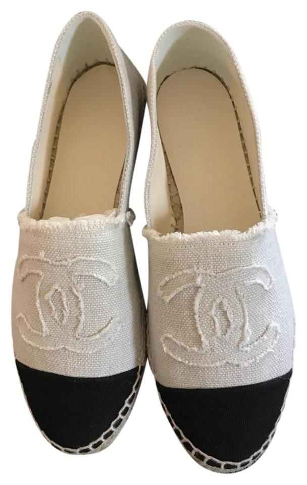 f101c0e49bd Chanel Beige/Black 36 Canvas Linen Cc Double Sole Espadrille Flats Size US  6 Regular (M, B)