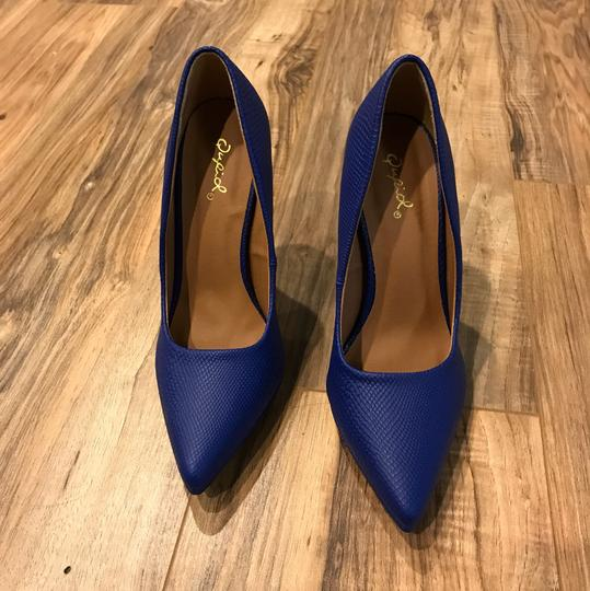 Qupid Blue Pumps Image 2