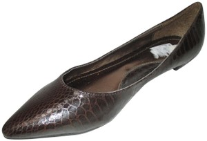 Rampage Pointed Toe Rubber Sole Padded Insoles Brown Snakeskin Patent Flats