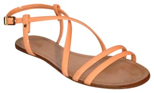 Miista Buckle Flat Strappy Leather peach Sandals