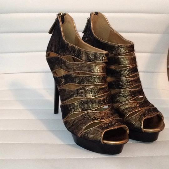 Elie Tahari Leather Lace Trim Peep Toe Bootie black gold Platforms Image 1