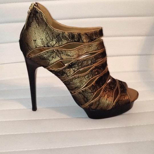 Elie Tahari Leather Lace Trim Peep Toe Bootie black gold Platforms Image 2