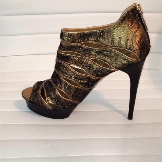 Elie Tahari Leather Lace Trim Peep Toe Bootie black gold Platforms Image 3