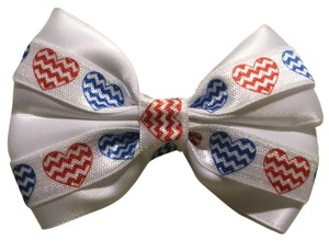 Other Handmade white satin decorated with red and blue hearts elastic