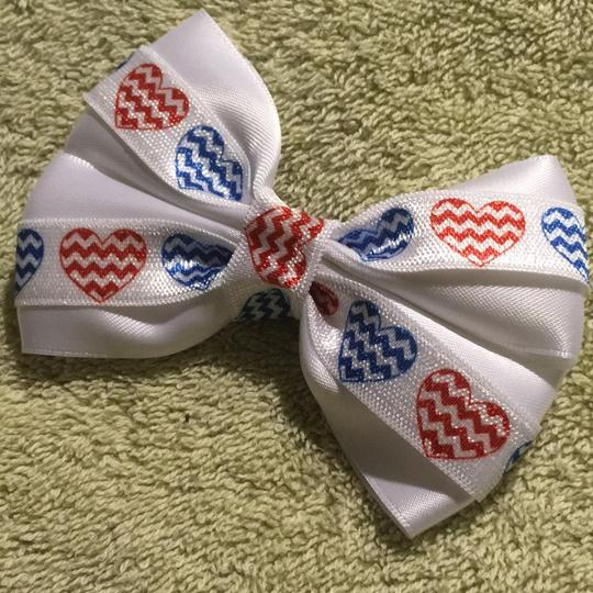 Other Handmade white satin decorated with red and blue hearts elastic Image 1