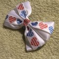 Other Handmade white satin decorated with red and blue hearts elastic Image 2