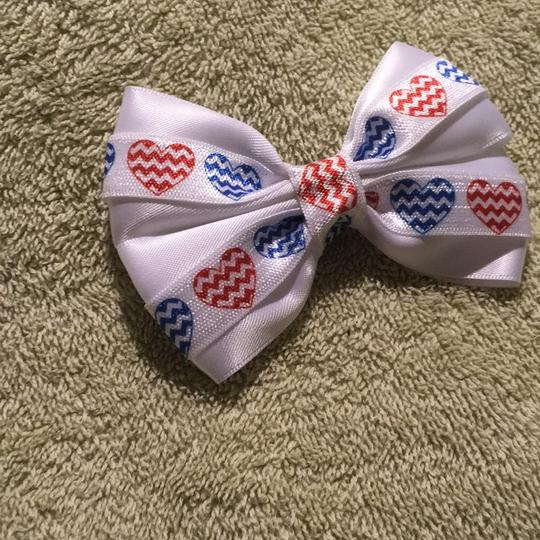 Other Handmade white satin decorated with red and blue hearts elastic Image 3
