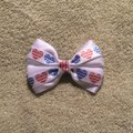 Other Handmade white satin decorated with red and blue hearts elastic Image 4