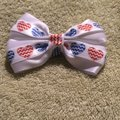 Other Handmade white satin decorated with red and blue hearts elastic Image 5
