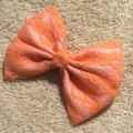 Other Handmade pink satin cover with orange lace bow Image 1