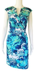Adrianna Papell short dress Turquoise Sheath Cotton Blend Floral Stretch on Tradesy