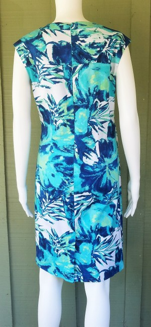 Adrianna Papell short dress Turquoise Sheath Cotton Blend Floral Stretch on Tradesy Image 2
