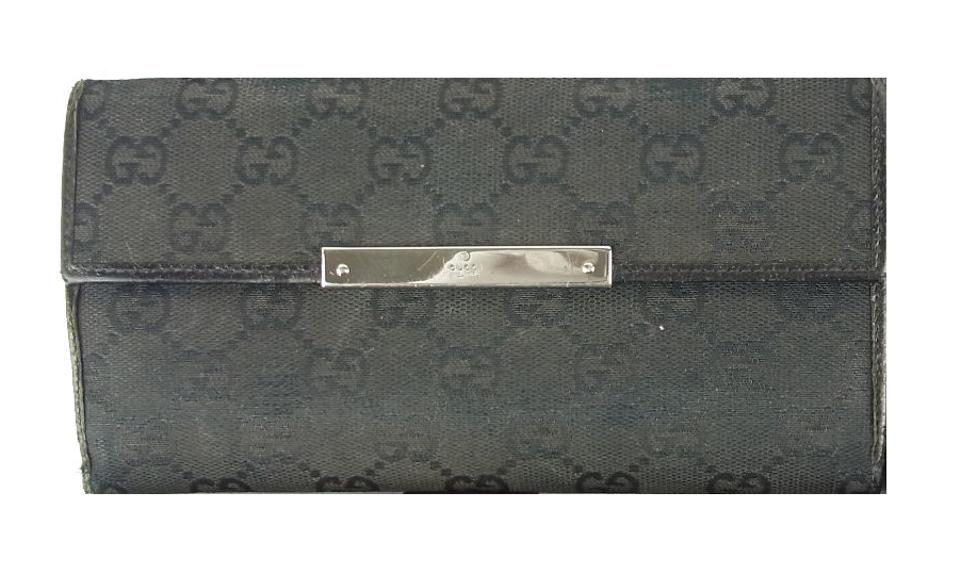 10d8b6c5b5bd Gucci Black Large G Logo Print Canvas & Black Leather Continental ...