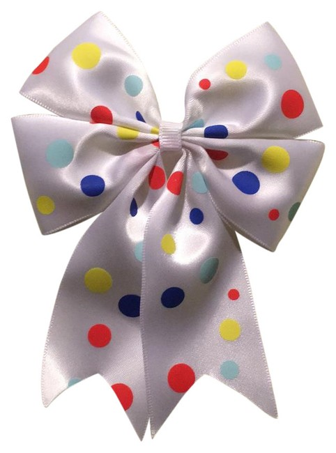 White Multicolor Polka Dots Handmade with Bow On Aligator Clip. Hair Accessory White Multicolor Polka Dots Handmade with Bow On Aligator Clip. Hair Accessory Image 1