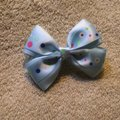 Other Handmade light blue decorated with a polka dots satin bow on aligator clip. Image 2