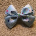 Other Handmade light blue decorated with a polka dots satin bow on aligator clip. Image 3