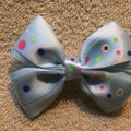 Other Handmade light blue decorated with a polka dots satin bow on aligator clip. Image 4