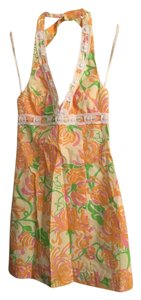 Lilly Pulitzer short dress White Orange Pink Green Graduation Party Wedding on Tradesy