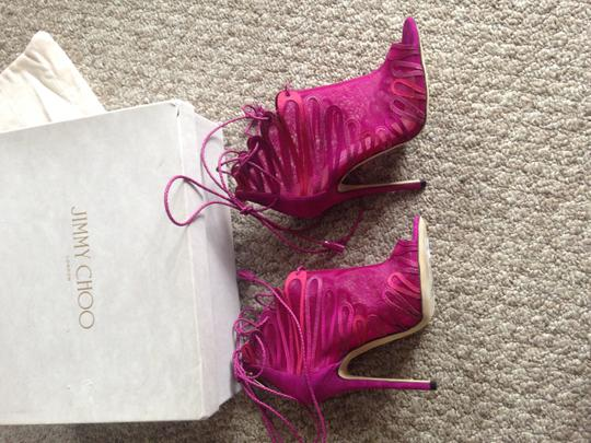 Jimmy Choo Heels Designer Made In Italy Limited Edition Magenta Sandals Image 9