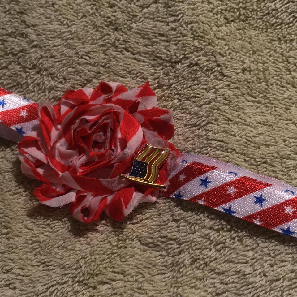 Red Blue And White Handmade Material Flower Decorated With Metal Usa