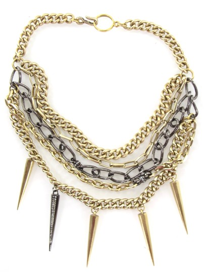 Preload https://img-static.tradesy.com/item/21325413/old-gold-and-gunmetal-layered-pave-crystal-spike-chain-collar-necklace-0-0-540-540.jpg
