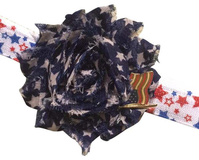 Blue Red White Handmade Stars On Material with A Metal Usa Flag On Elastic Hair Accessory Blue Red White Handmade Stars On Material with A Metal Usa Flag On Elastic Hair Accessory Image 1