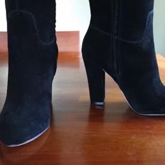 Joan & David Suede And Steria Chunky Black Boots Image 2