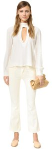 Frame Denim Cropped White Ivory Capri/Cropped Denim-Light Wash