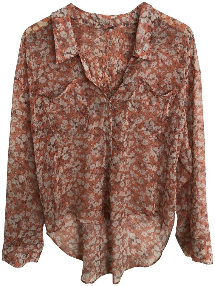736800aa Free People Pink Floral Button-down Top Size 6 (S) - Tradesy
