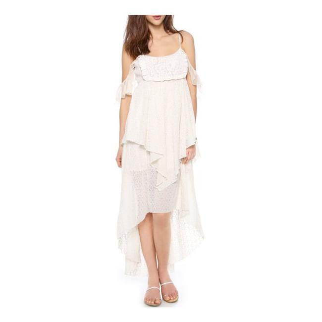 """Free People Cream """"Candlight"""" Cotton Eyelet Midi Mid-length Casual Maxi Dress Size 2 (XS) Free People Cream """"Candlight"""" Cotton Eyelet Midi Mid-length Casual Maxi Dress Size 2 (XS) Image 1"""