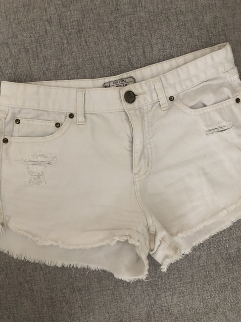 Free People Distressed Denim Summer Spring Cut Off Shorts White Image 1