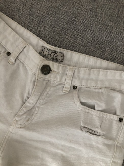 Free People Distressed Denim Summer Spring Cut Off Shorts White Image 4