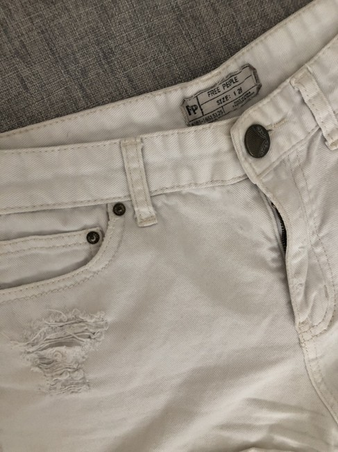 Free People Distressed Denim Summer Spring Cut Off Shorts White Image 5