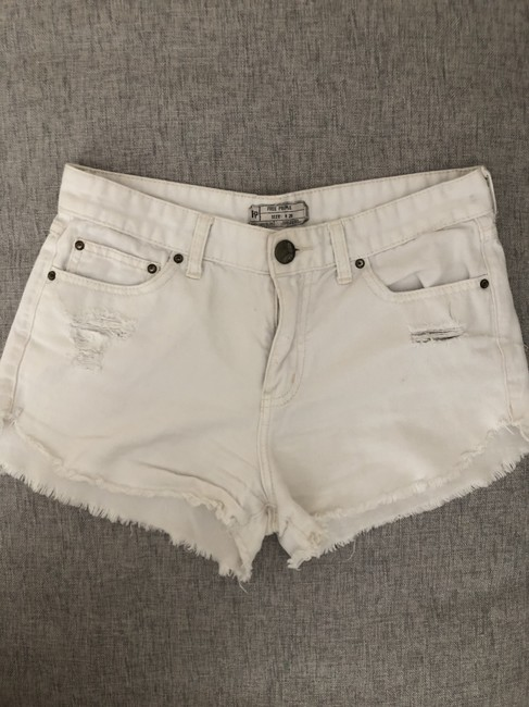 Free People Distressed Denim Summer Spring Cut Off Shorts White Image 6