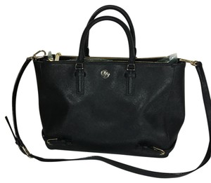 Tory Burch Robinson Crossbody Saffiano Satchel in Black